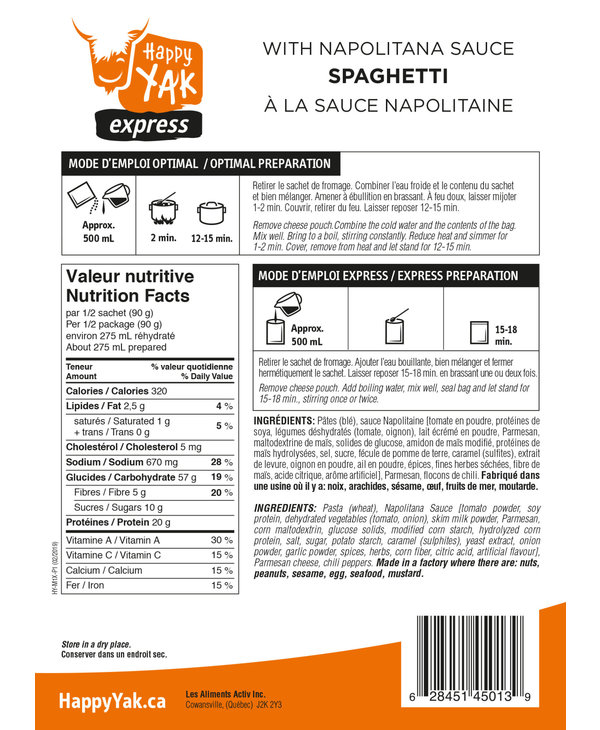 Happy Yak Spaghetti with Napolitana Sauce