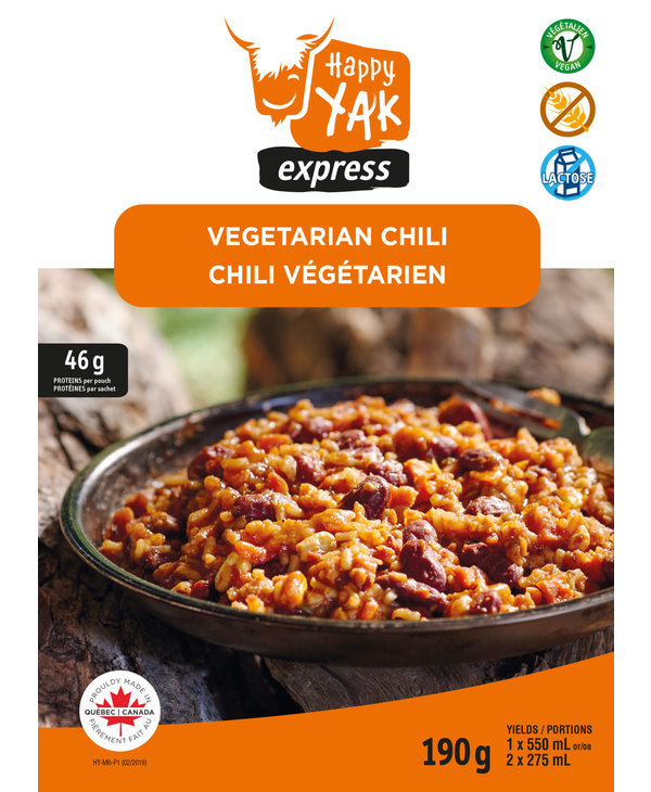 Happy Yak Vegetarian Chili (Vegan, Gluten Free, Lactose Free)