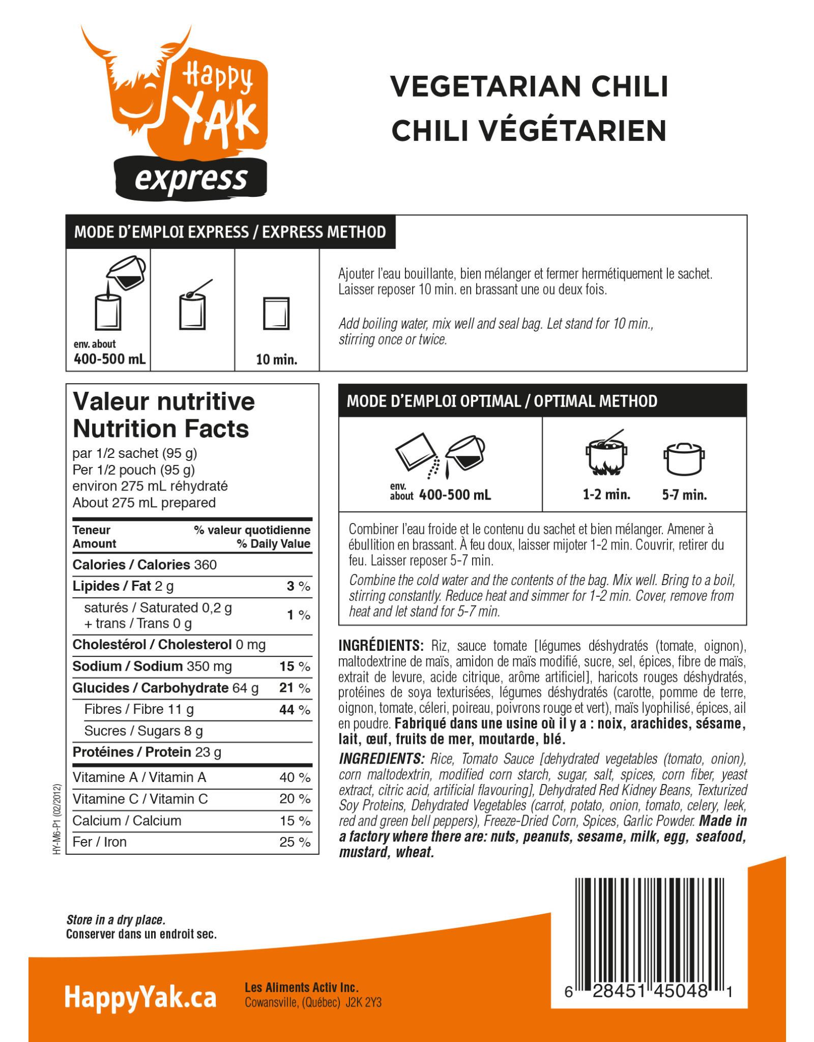 Happy Yak Happy Yak Vegetarian Chili (Vegan, Gluten Free, Lactose Free)