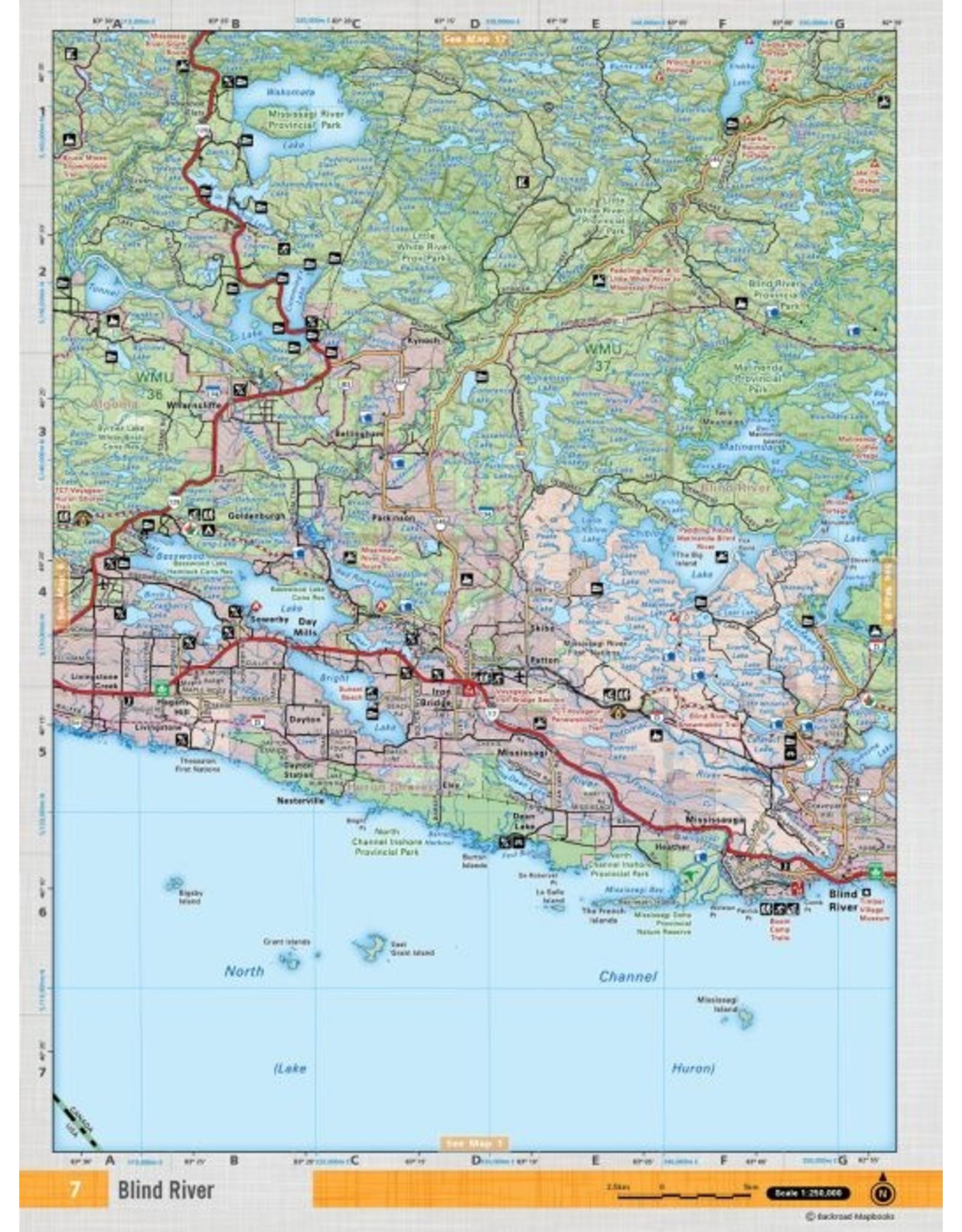 Backroad Mapbooks Backroads Mapbooks ON TOPO MAP WATERPROOF MAP NEON-07 Blind River
