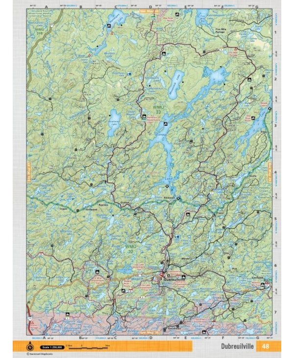 Backroads Mapbooks ON TOPO MAP WATERPROOF MAP NEON-148 Dubreilville