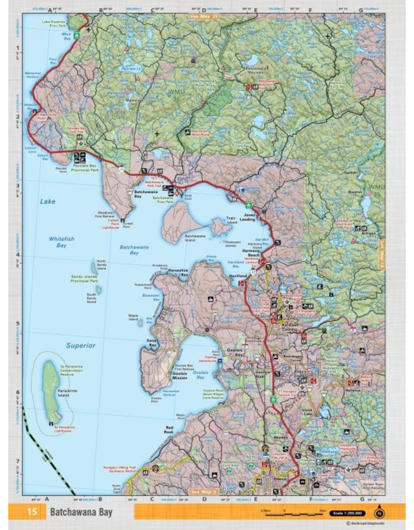 Backroad Mapbooks Backroads Mapbooks ON TOPO MAP WATERPROOF MAP NEON-15 Goulais Bay