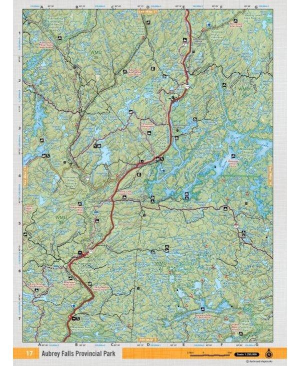 Backroads Mapbooks ON TOPO MAP WATERPROOF MAP NEON-17 Aubrey Falls