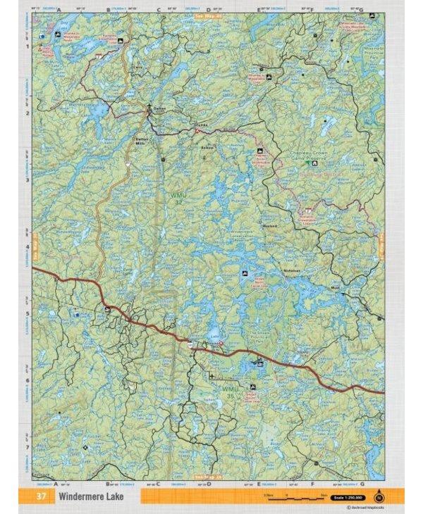 Backroads Mapbooks ON TOPO MAP WATERPROOF MAP NEON-37 Windermere Lake