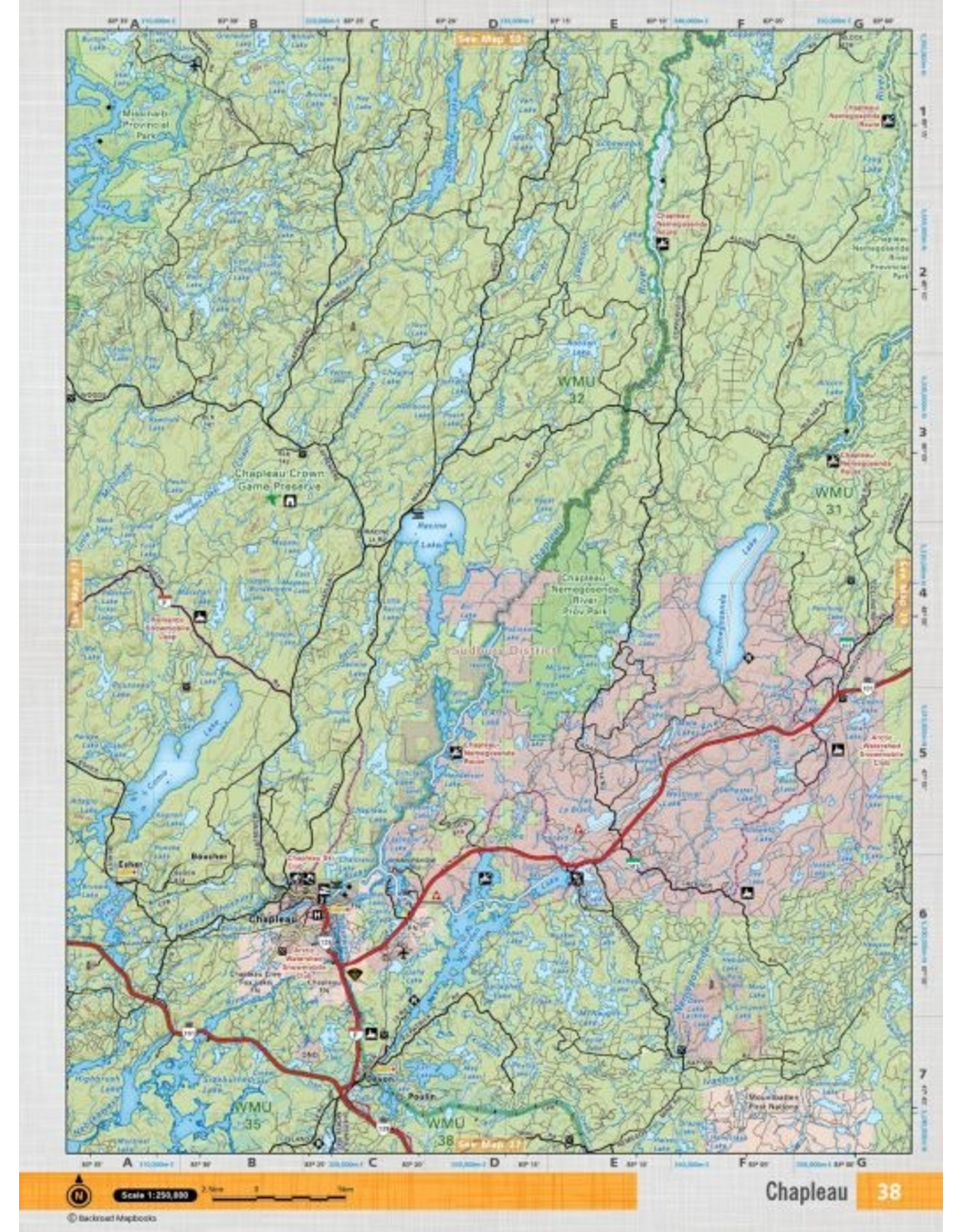 Backroad Mapbooks Backroads Mapbooks ON TOPO MAP WATERPROOF MAP NEON-38 Chapleau