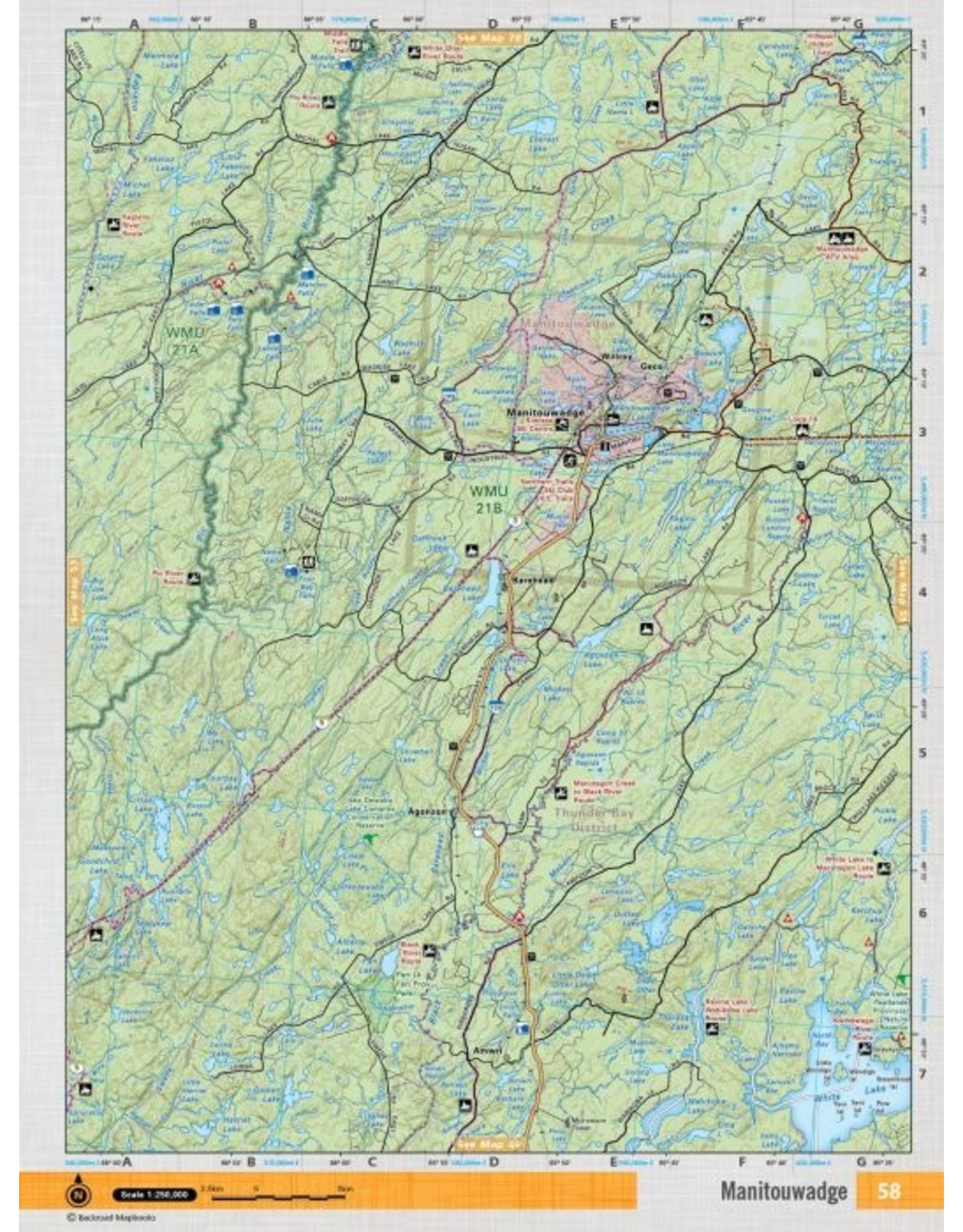 Backroad Mapbooks Backroads Mapbooks ON TOPO MAP WATERPROOF MAP NEON-58 Manitouwadge