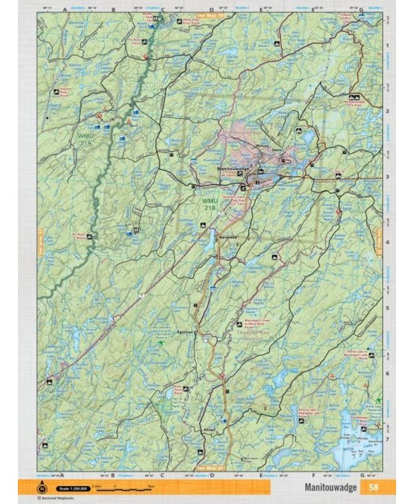 Backroads Mapbooks ON TOPO MAP WATERPROOF MAP NEON-58 Manitouwadge