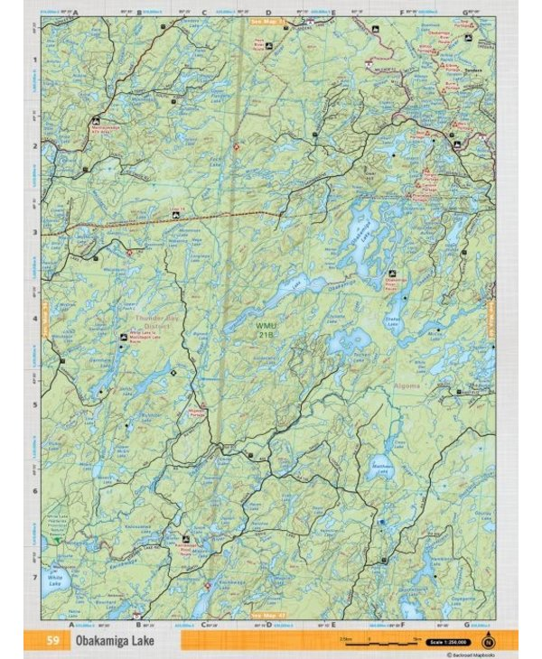 Backroads Mapbooks ON TOPO MAP WATERPROOF MAP NEON-59 Obakamiga Lake