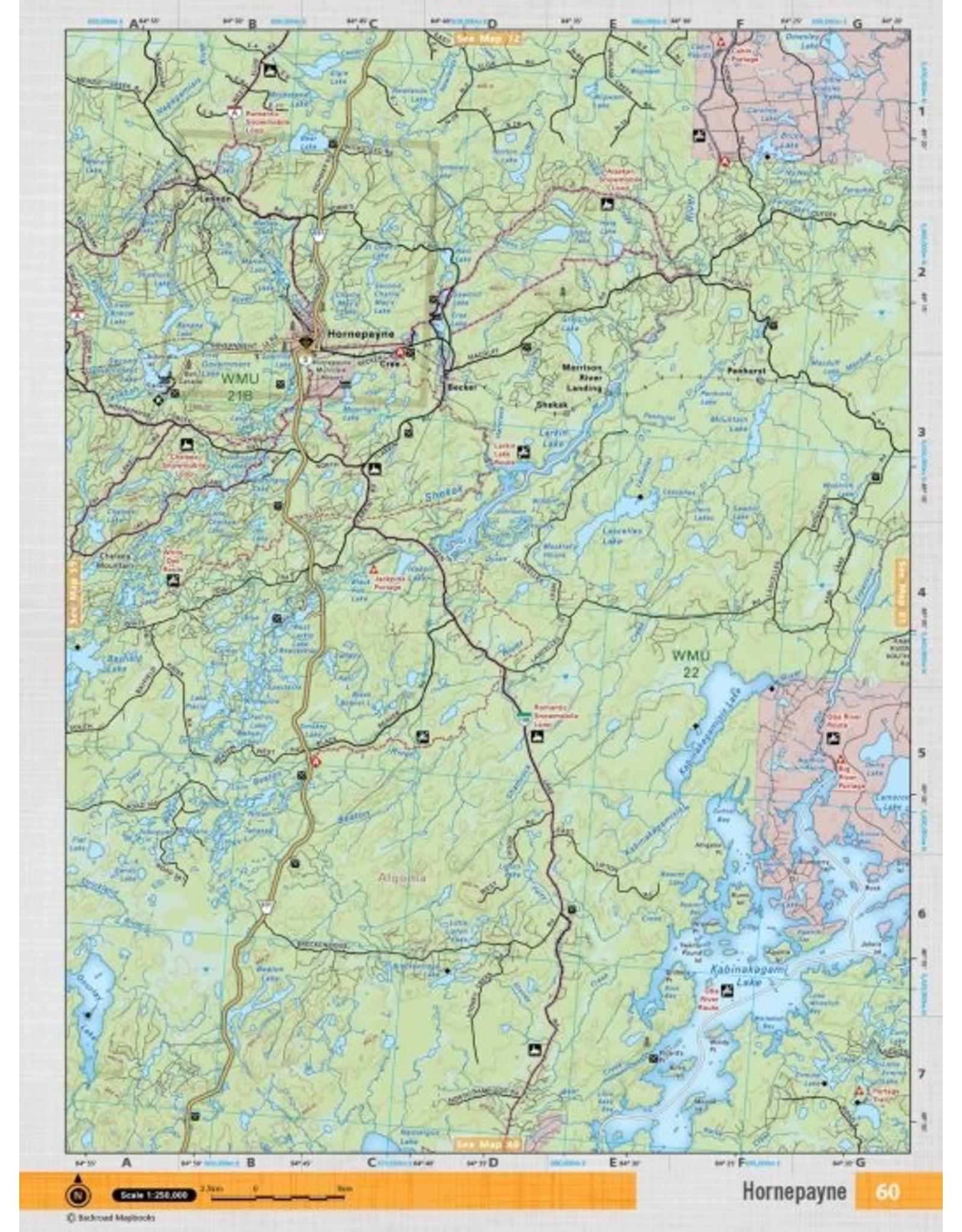 Backroad Mapbooks Backroads Mapbooks ON TOPO MAP WATERPROOF MAP NEON-60 Hornepayne