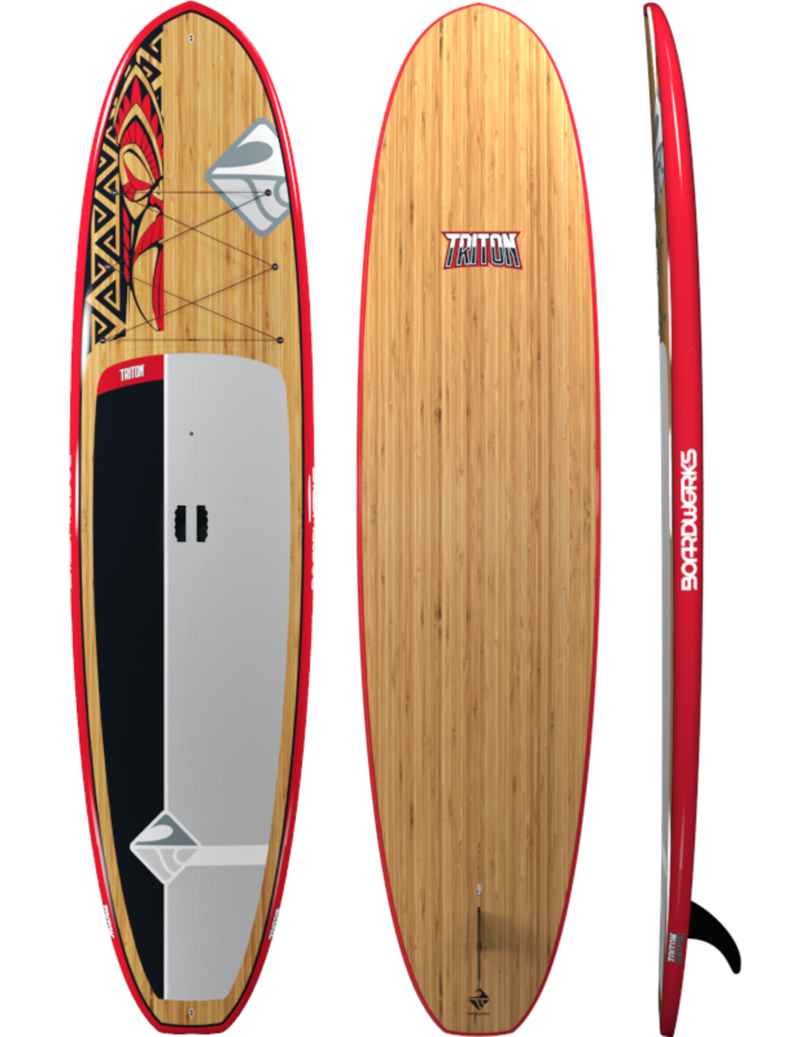 """Boardworks Boardworks Triton 10'6"""" SUP (Stand Up Paddleboard) - Red/Bamboo"""