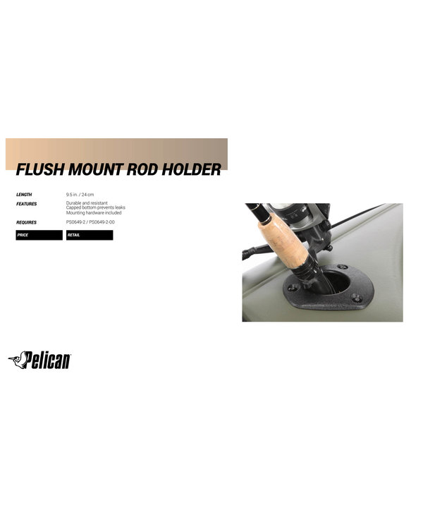 Pelican Flush Mount Rod Holder Black