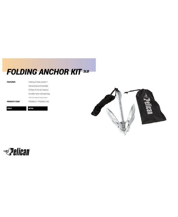 Pelican Anchor Kit 3 Lb Folding