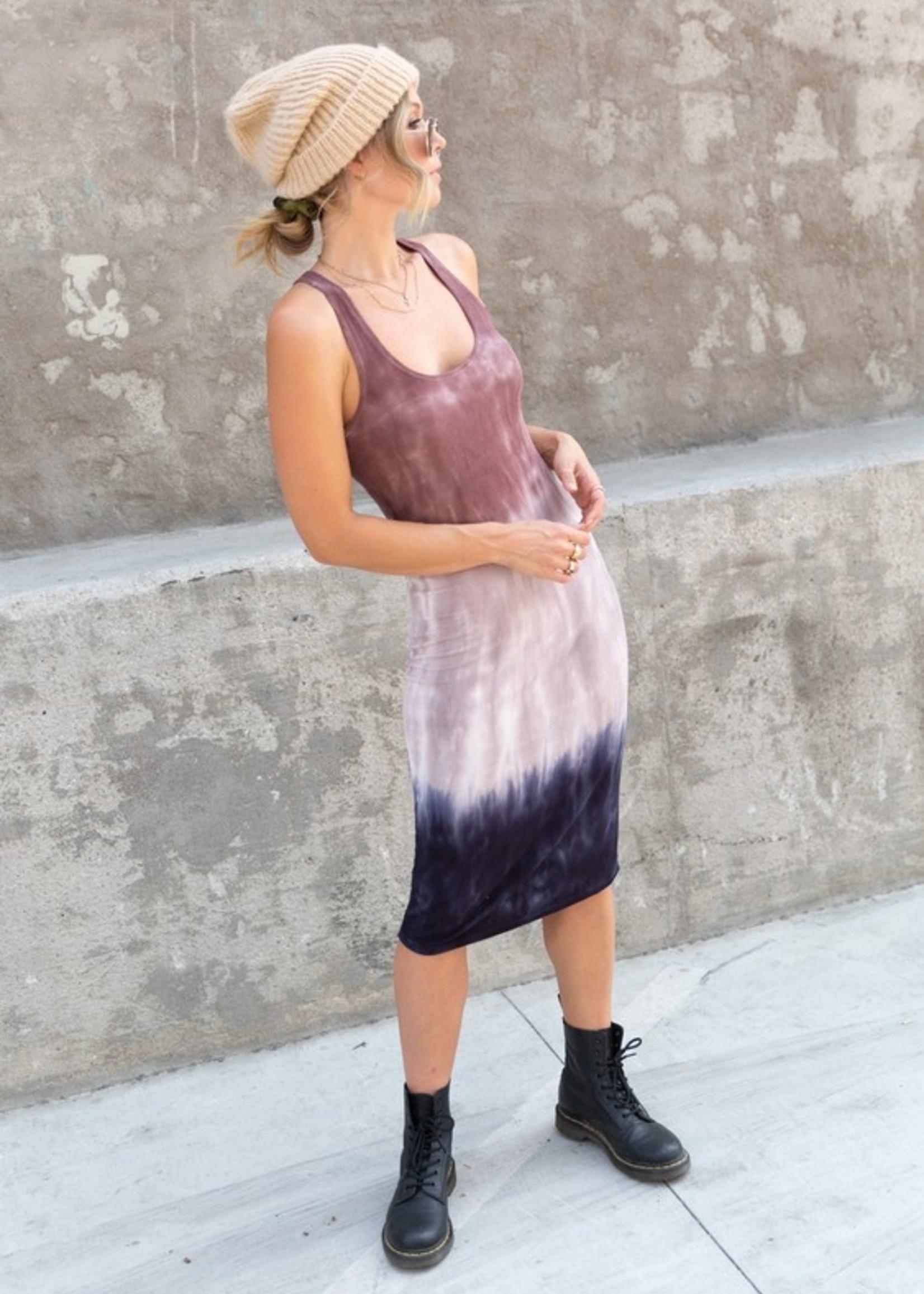 Lovestitch tie dye ribbed midi dress