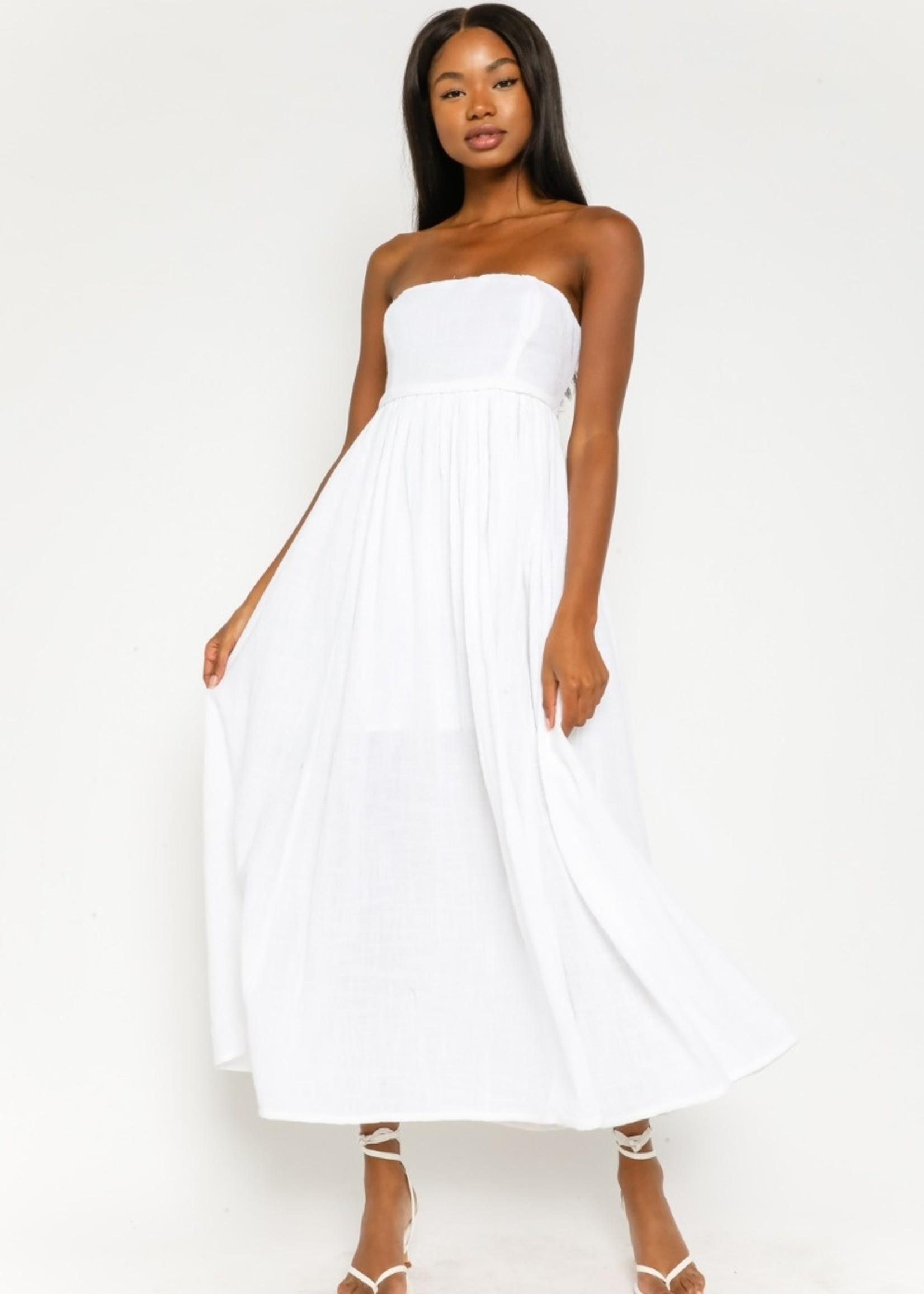 Gauze Strapless Midi Dress