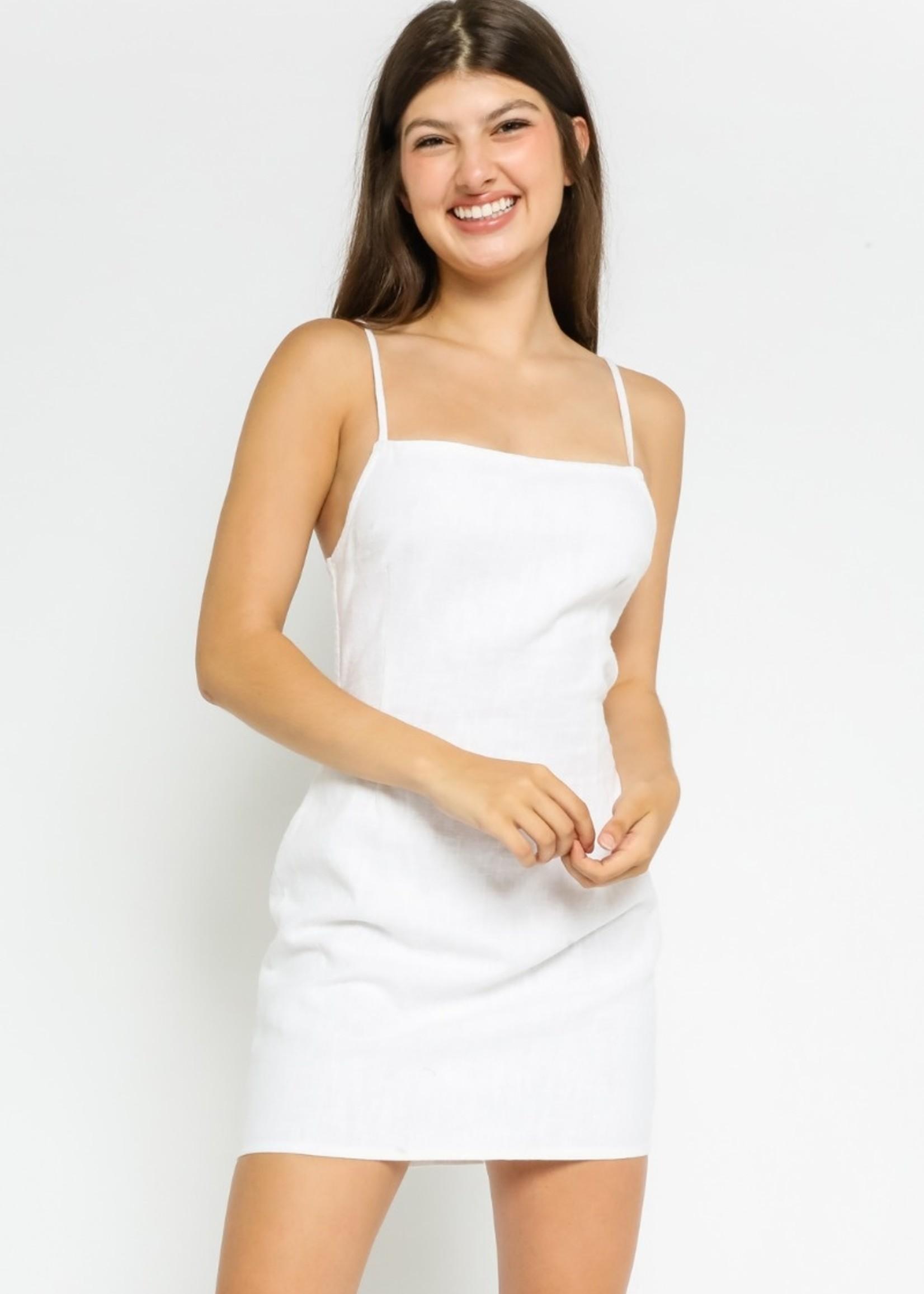 Linen Strappy Back Tank Dress -White