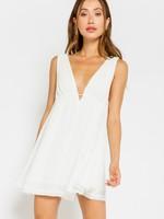Tank Plunge Neck Dress- White