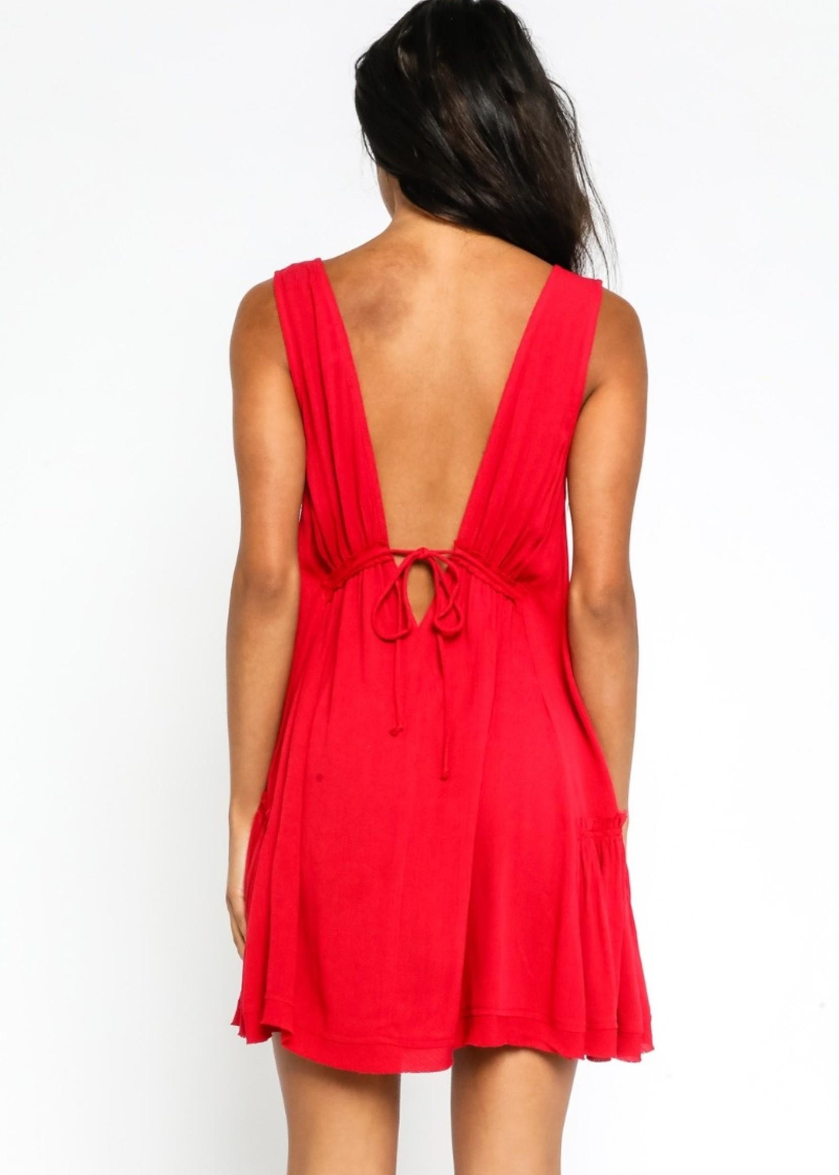 Tank Plunge Neck Dress-Bombshell Red