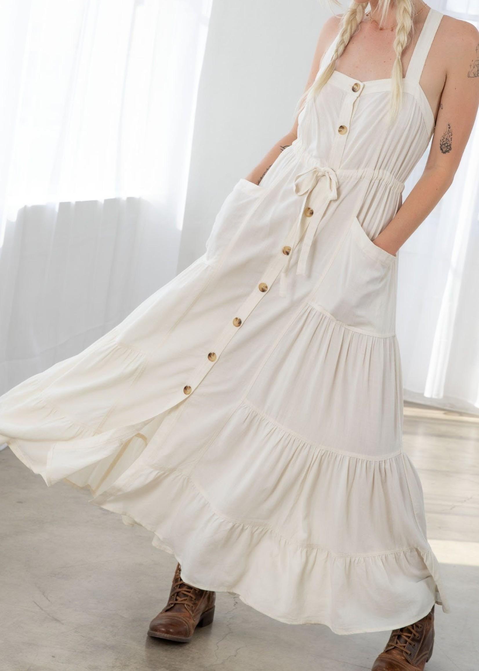 Cecilia Button Down Tiered Dress- Vanilla