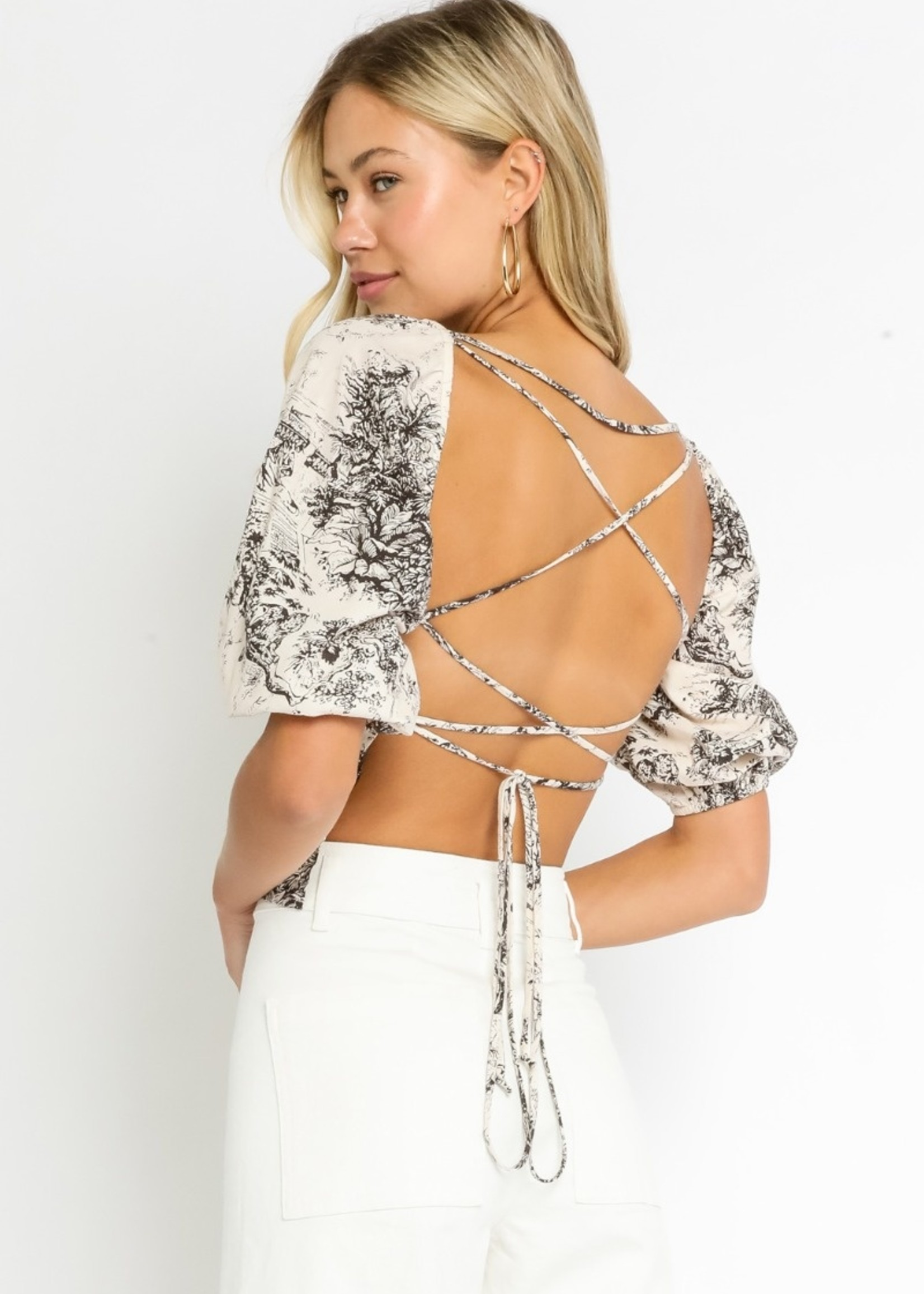 Painted Islands Lace Up Back Top