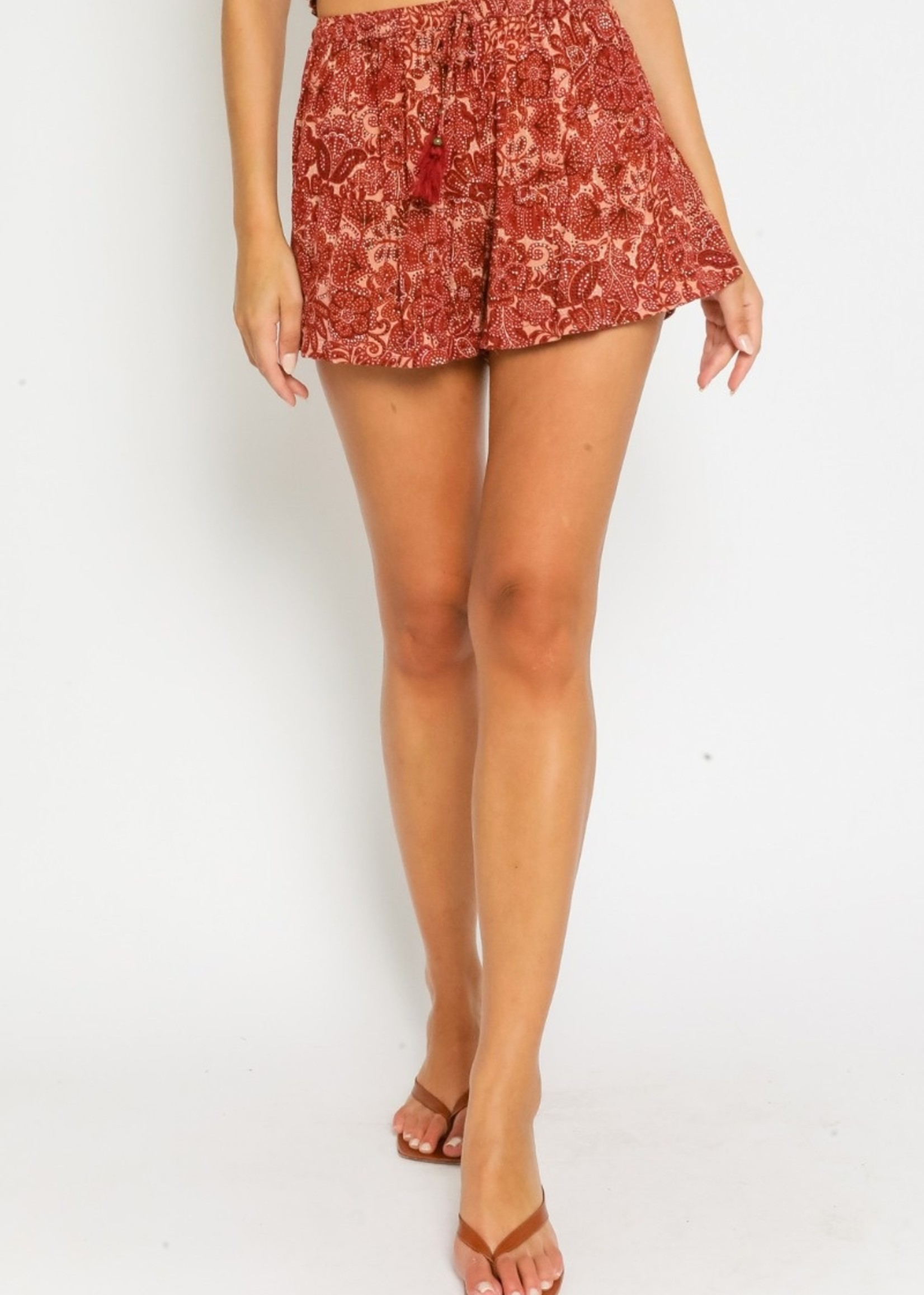 Wine Floral Shorts