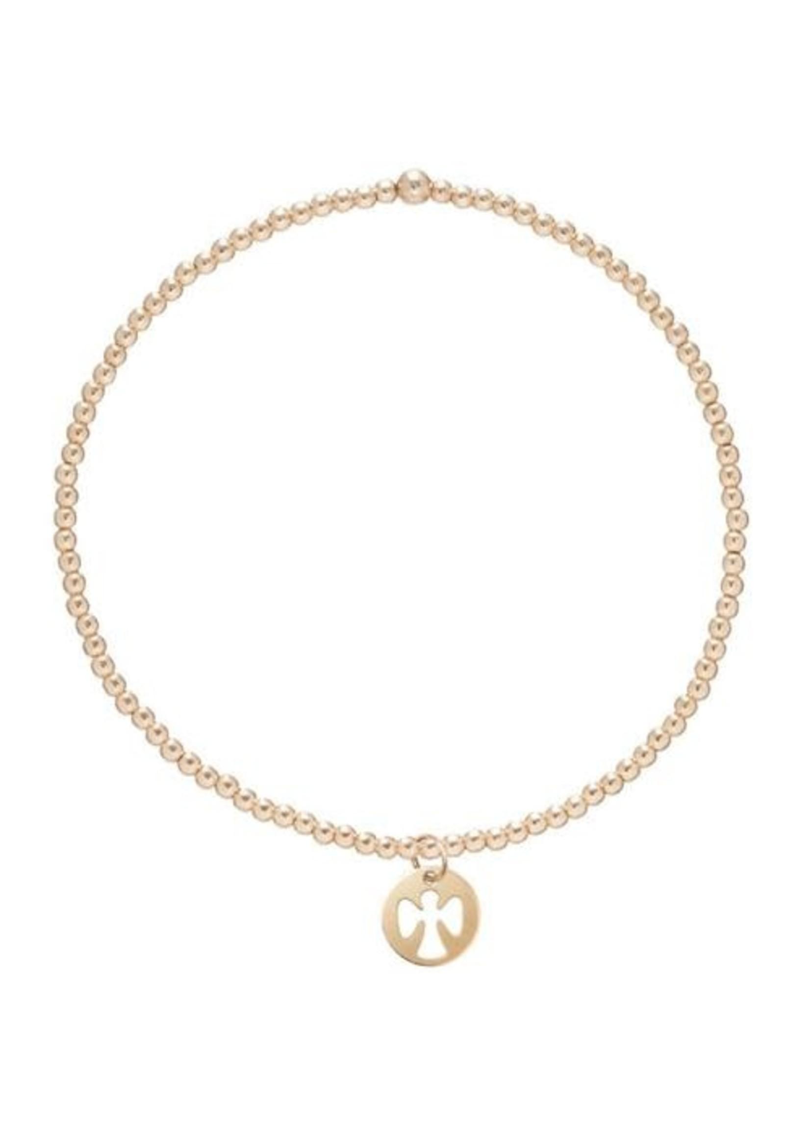 enewton Classic Gold 2mm Bead Bracelet- Guardian Angel Small Gold Charm