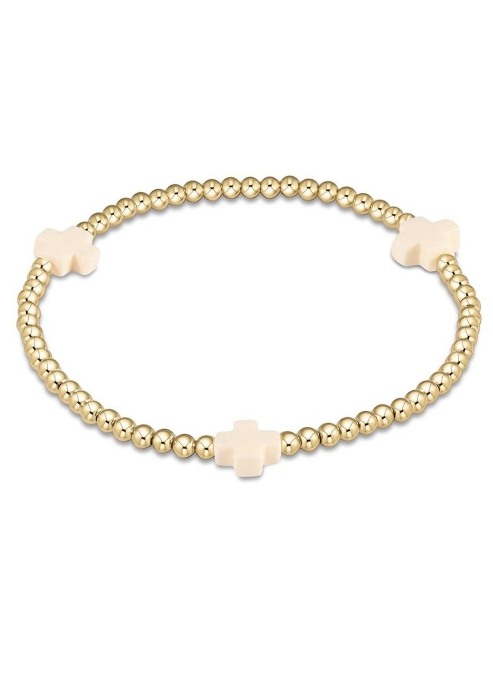 enewton Signature Cross Gold Pattern 3mm Bead Bracelet - Off-White
