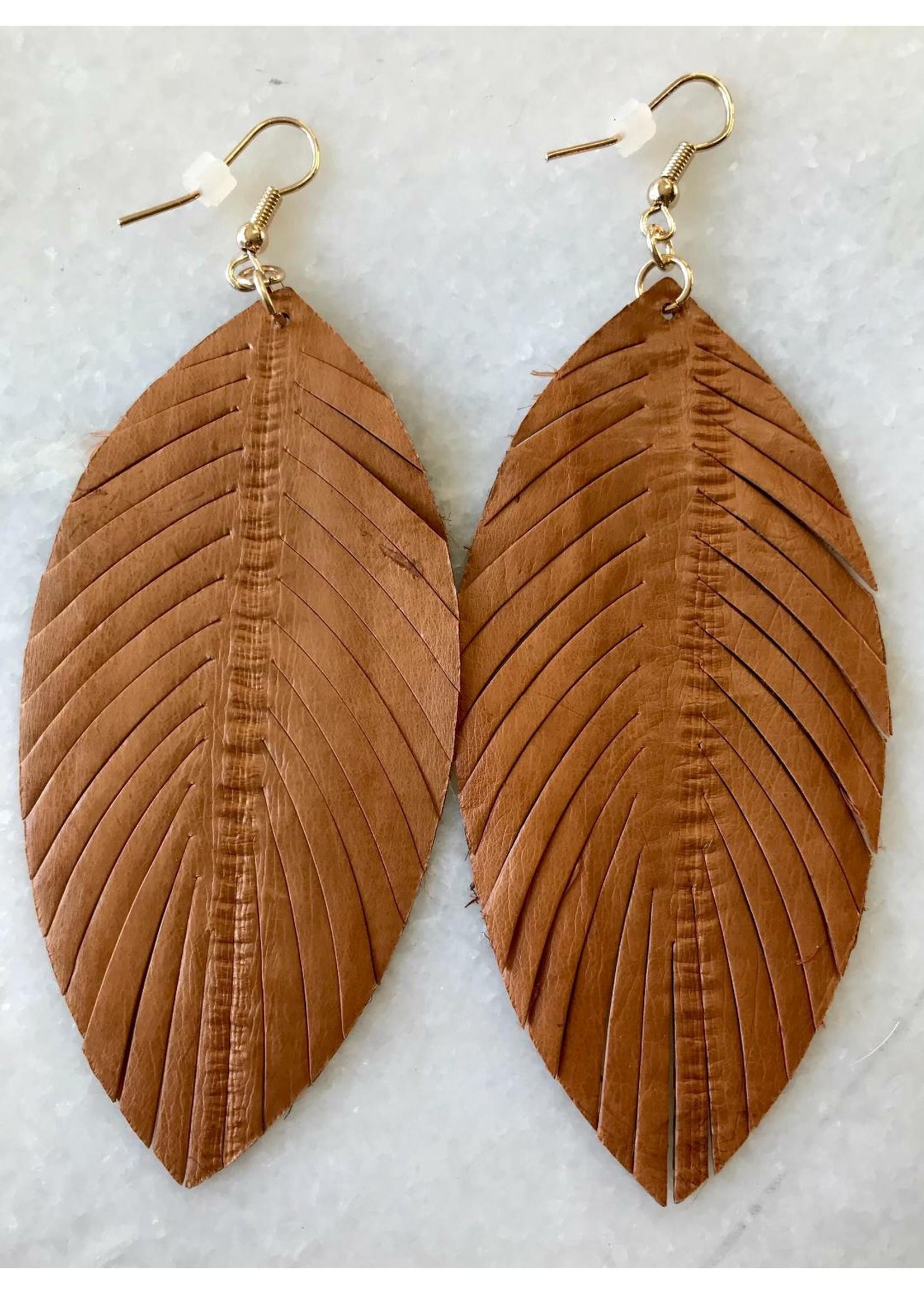 Vegan Leather Feather Earrings
