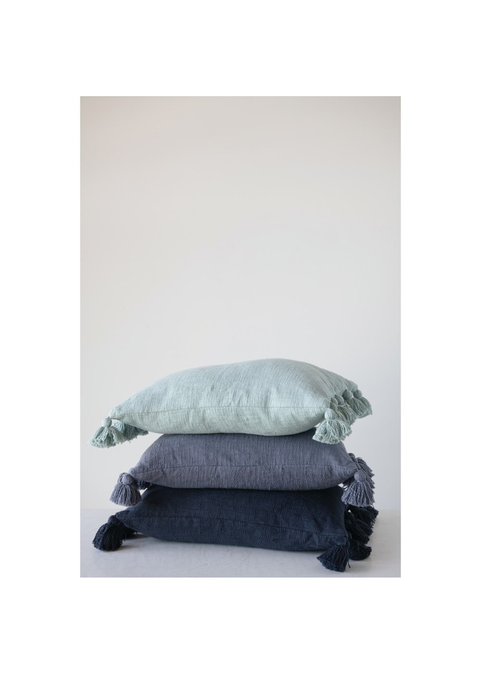Creative Co-op Rectangle Cotton Tassel Pillow