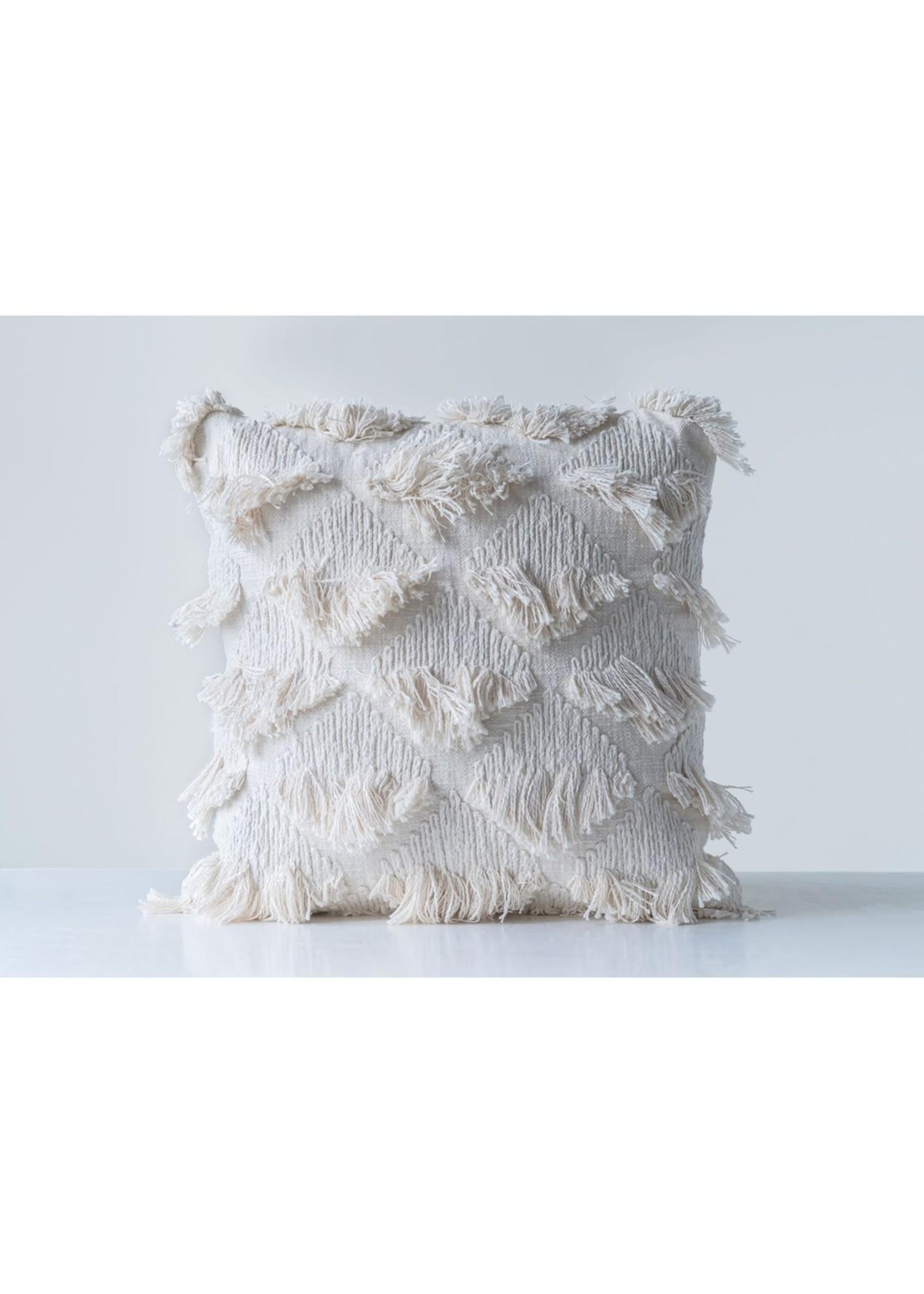 Creative Co-op Ivory Eyelash Fringe Pillow