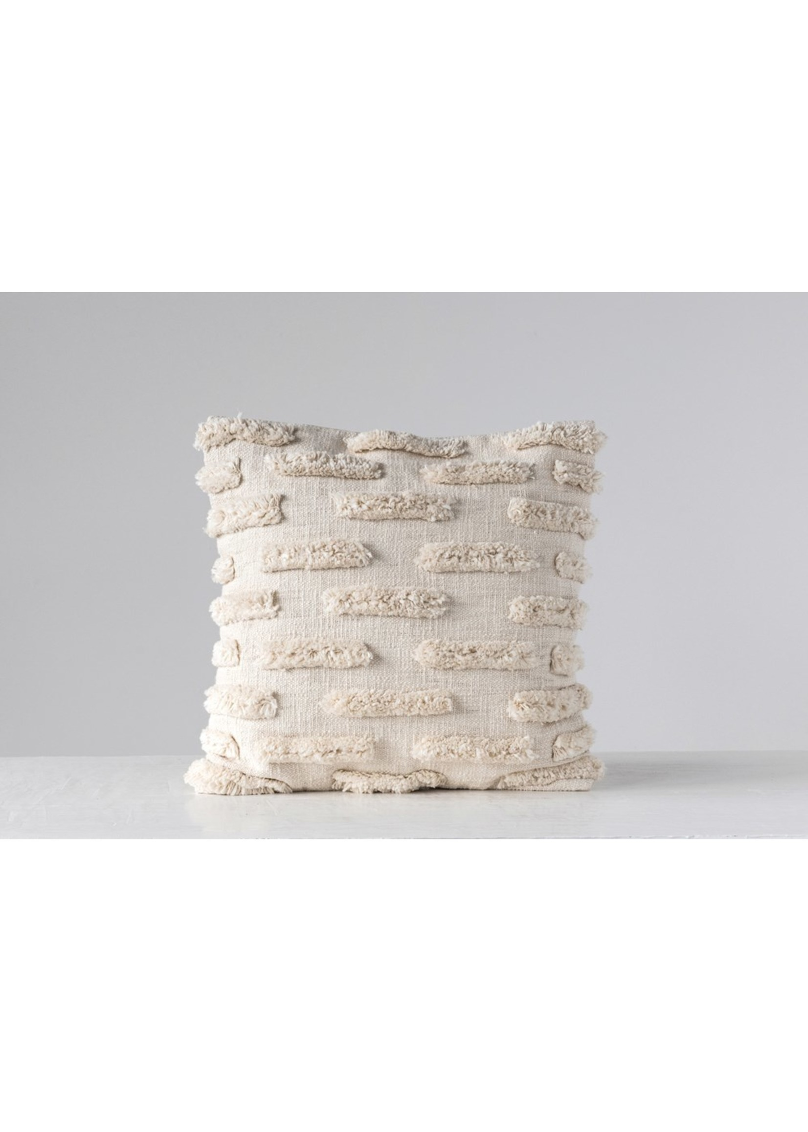 Creative Co-op Ivory Woven Cotton w/ Fringe Pillow