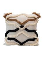 Creative Co-op Applique Fringe Pillow
