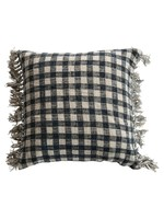 Creative Co-op Blue & Cream Gingham Pillow