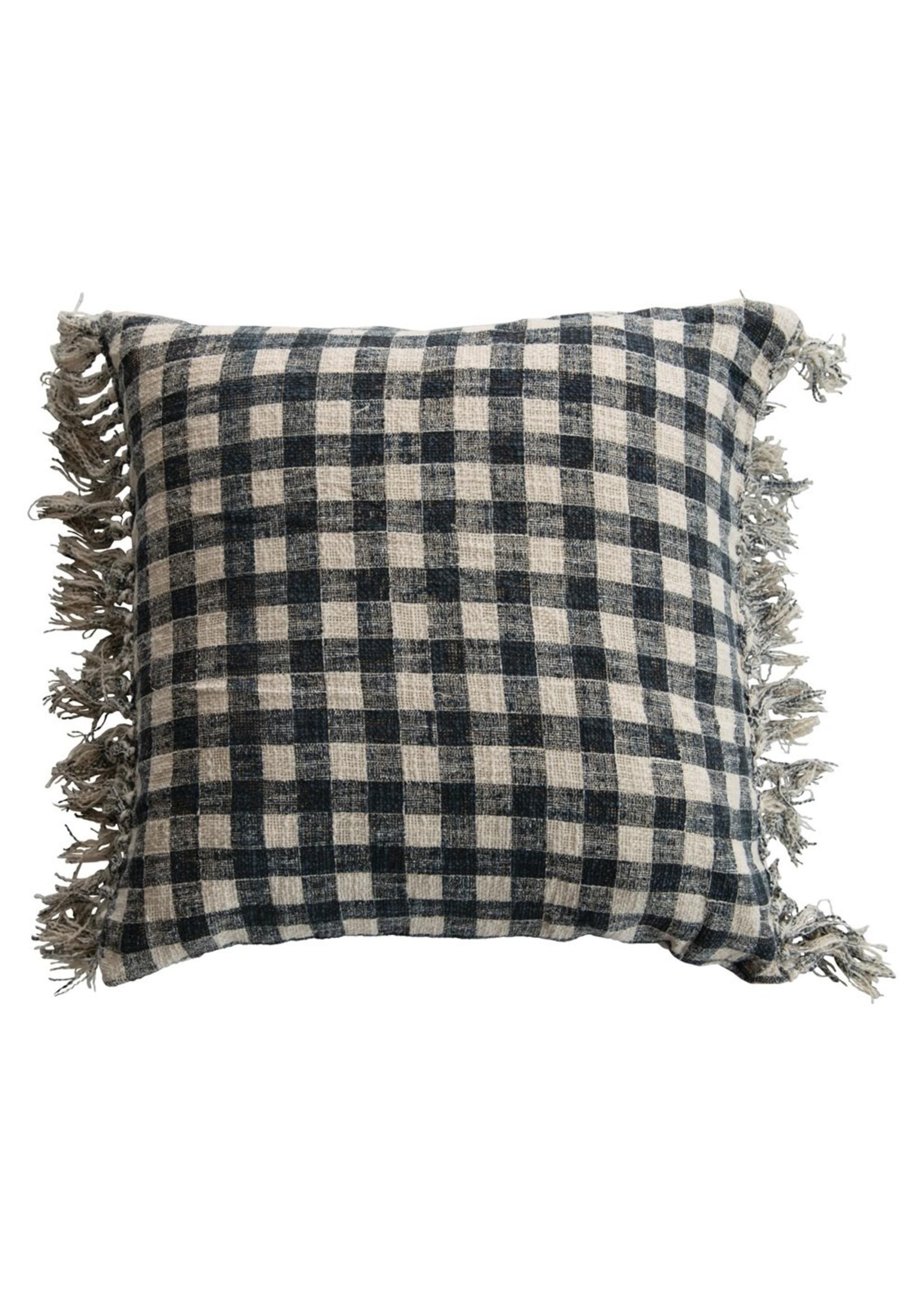 Creative Co-op Blue & Cream Gingham Pillow