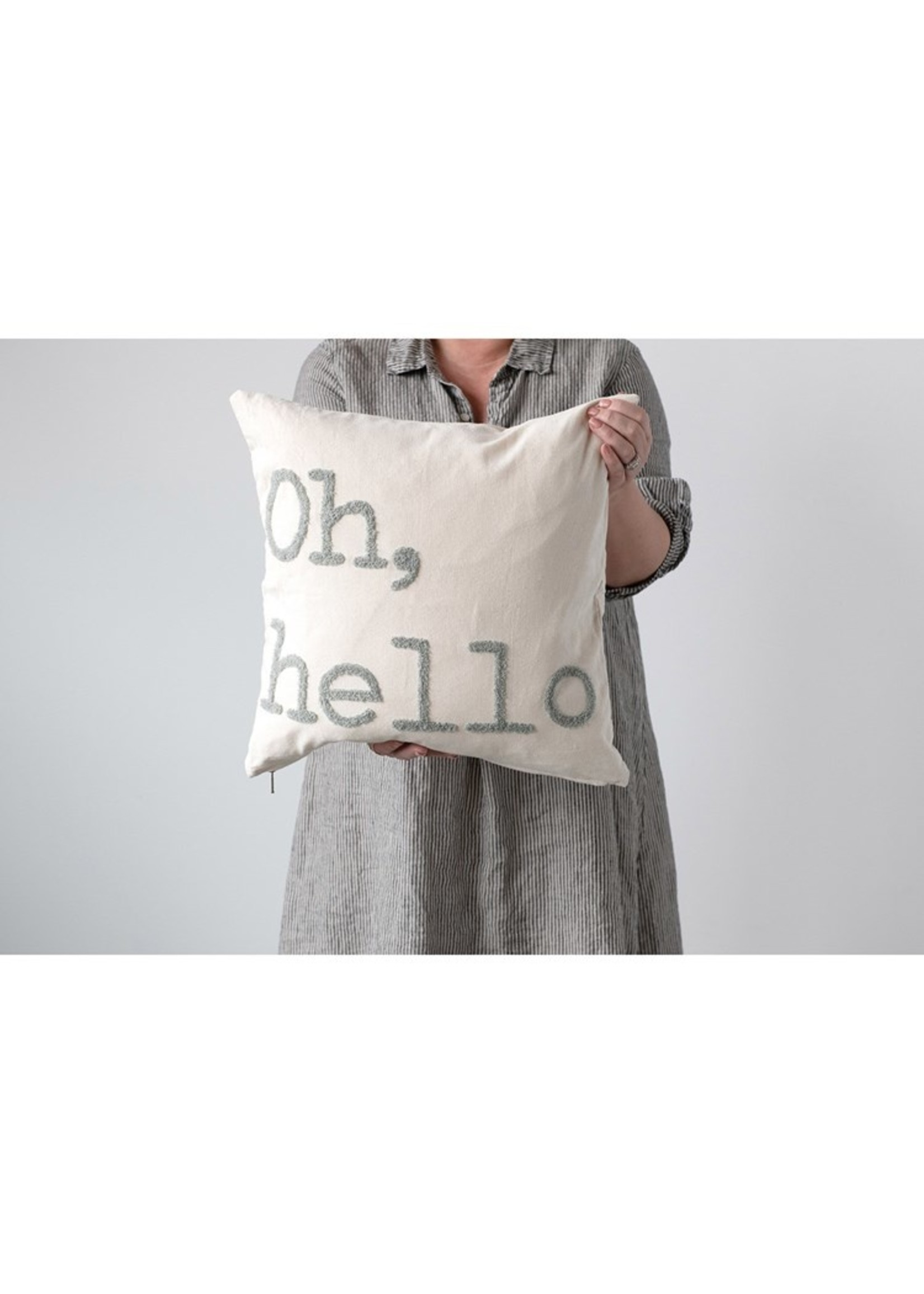 Creative Co-op Oh, Hello Gray Pillow