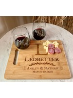 Board & Stemless Wine Glasses 3pc Set