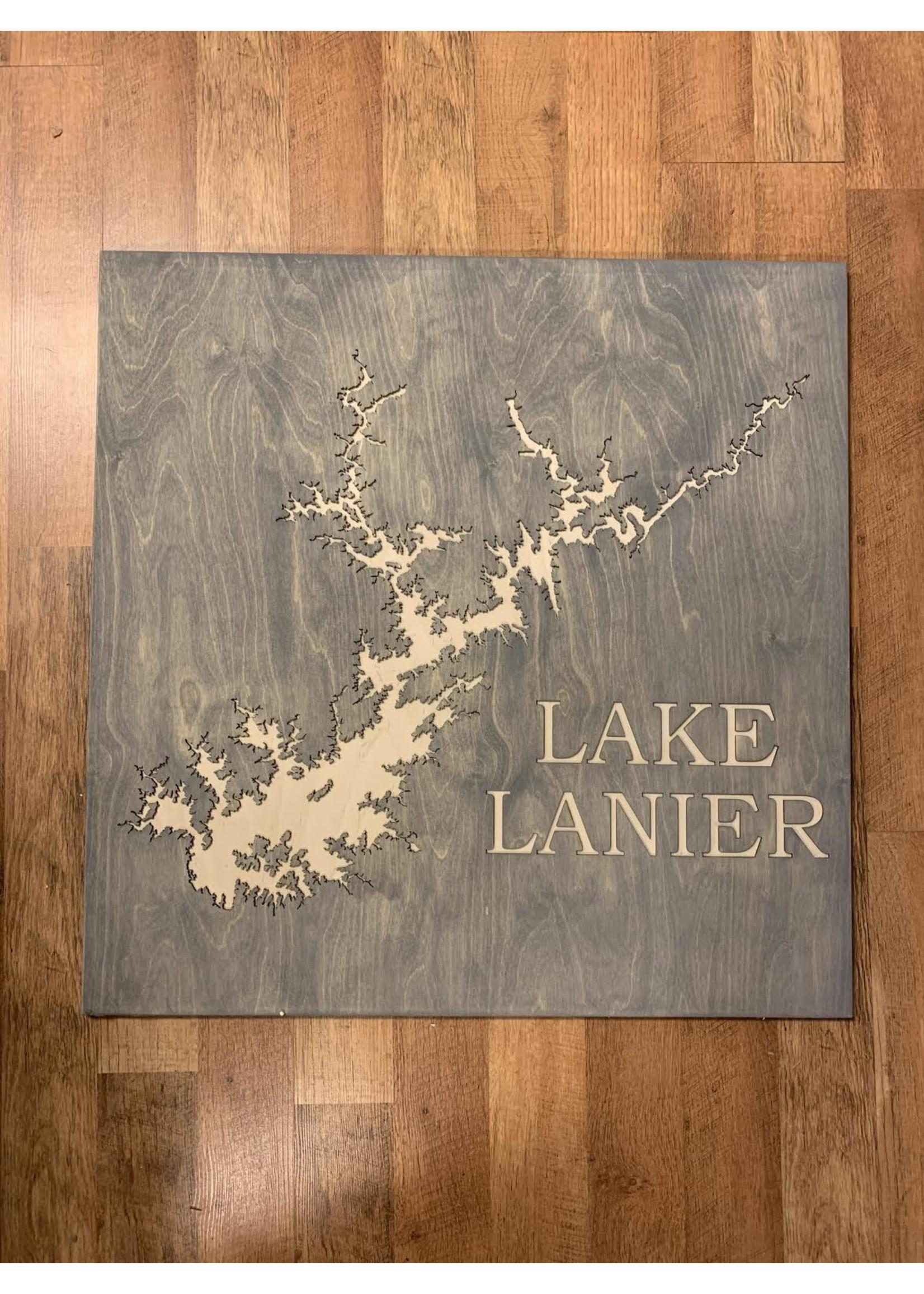 birch and boulder Engraved Lake Sign