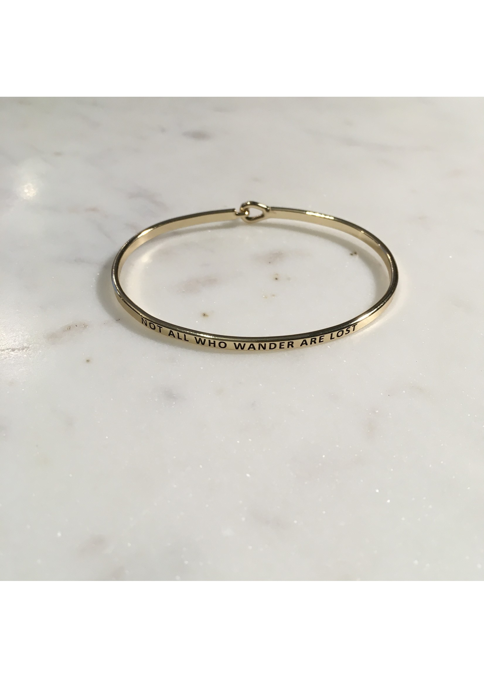 """elleB Gold Bangle """"Not All Who Wander Are Lost"""""""