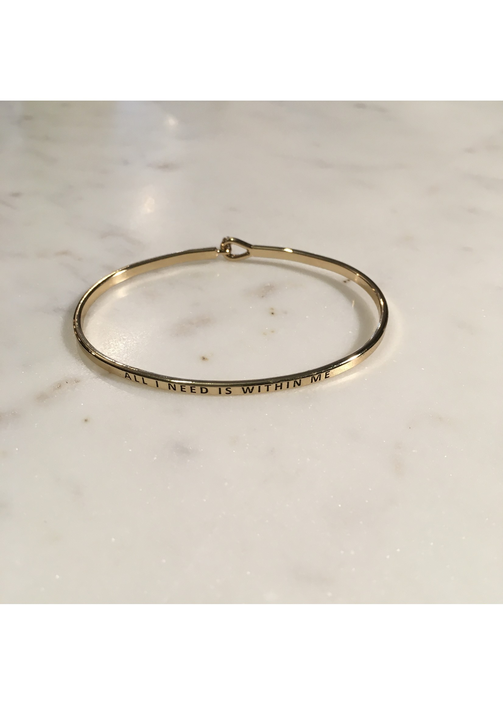 """elleB Gold Bangle """"All I Need Is Within Me"""""""