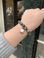 maryna Jade Stretch Bracelet with Amber Charm