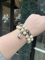 maryna Cream Stone Stretch Bracelet