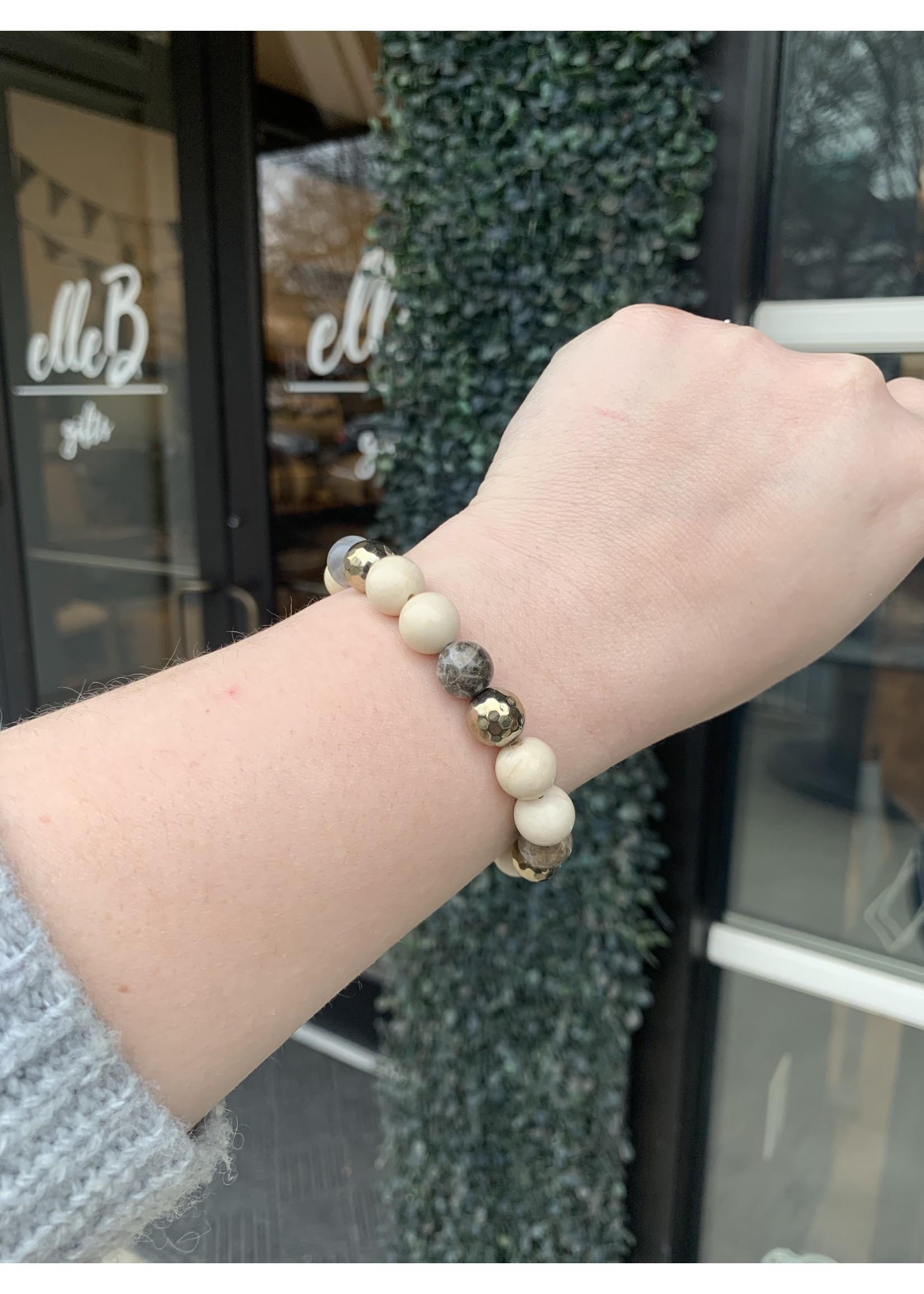 maryna Cream Stone Stretch Bracelet