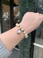 maryna Cream Stone Stretch Bracelet with Amber Stone