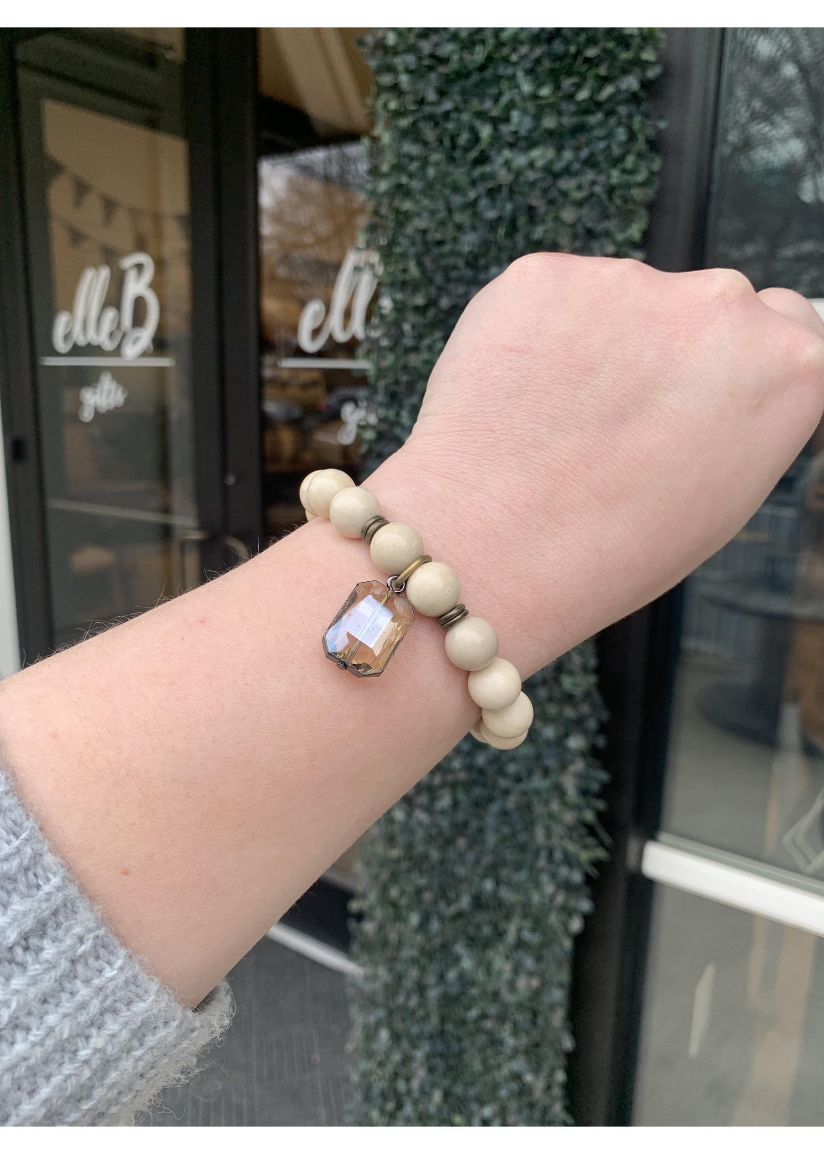 maryna Cream Stone Stretch Bracelet with Amber Stone