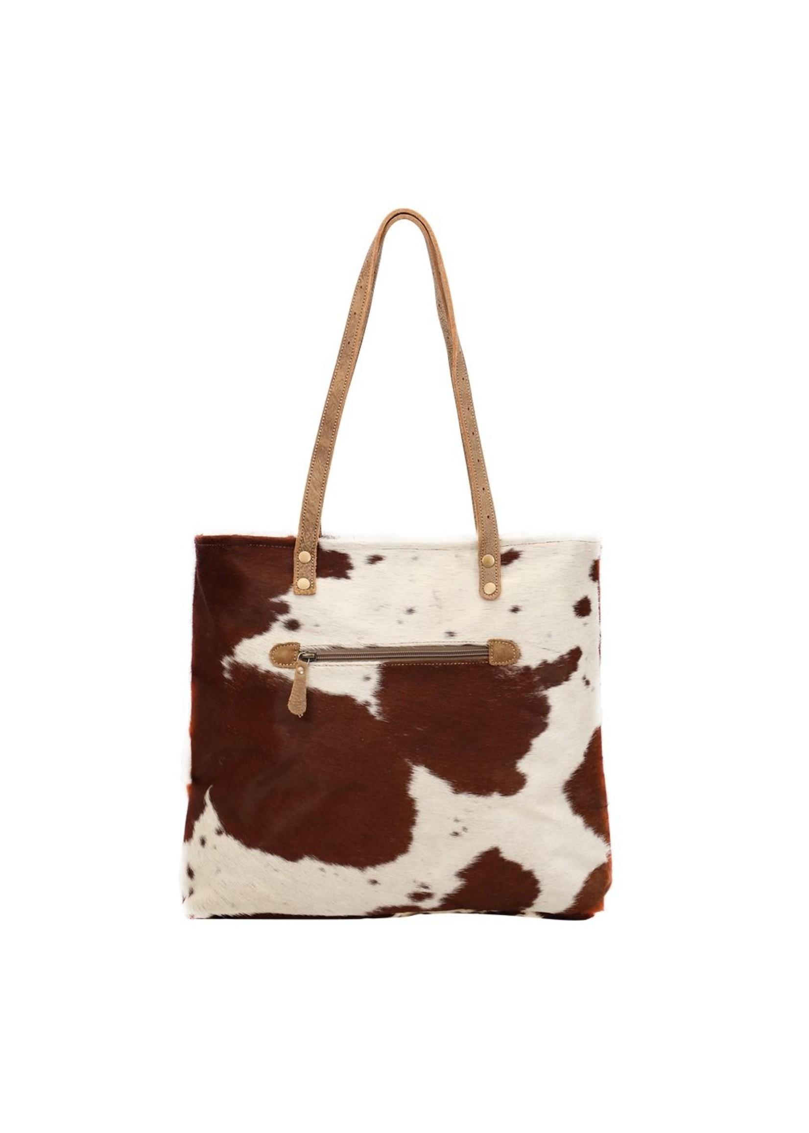 myra bags Caramel Front Pocket Hairon Tote Bag