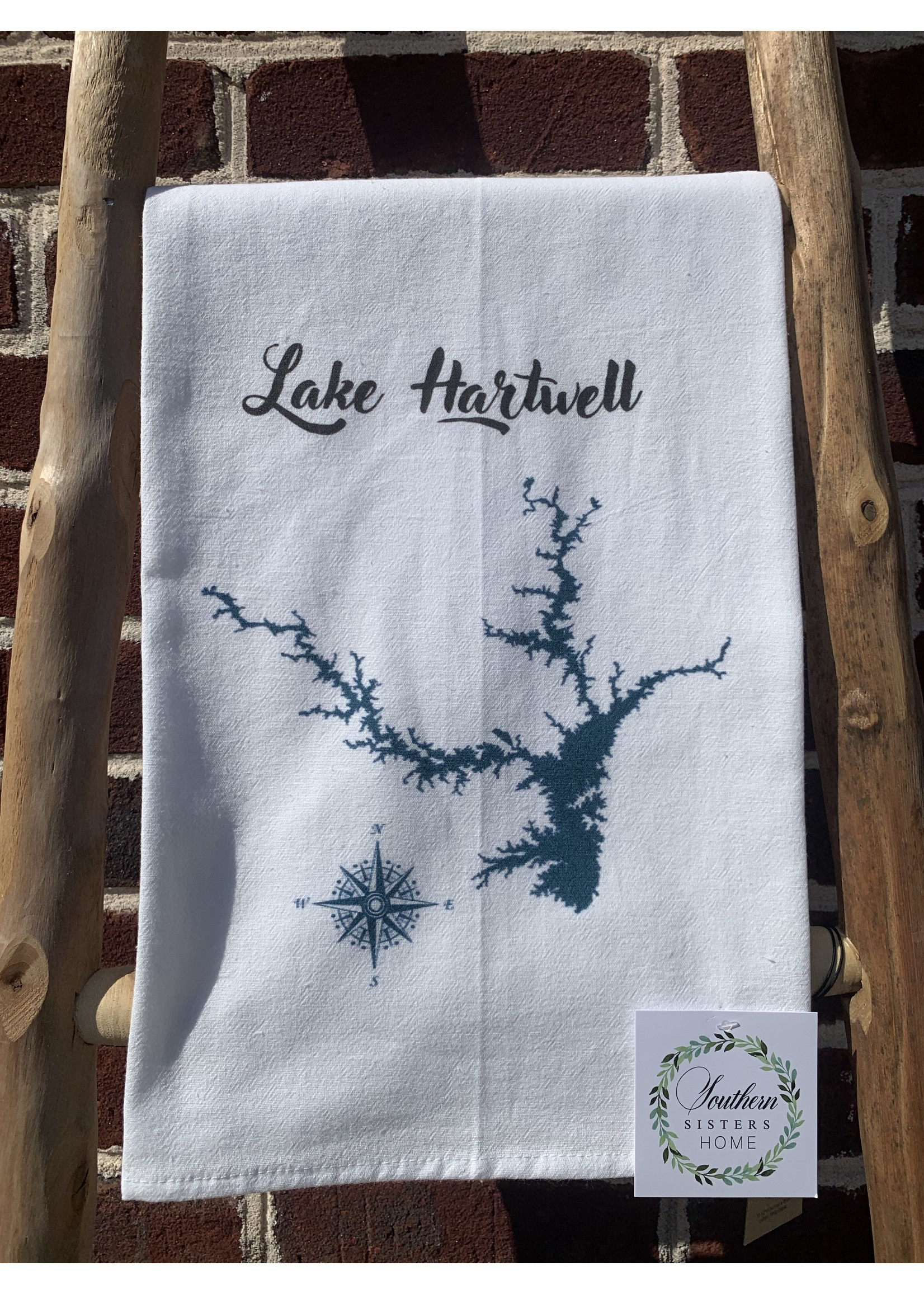 southern sisters Linen Towel Lake Hartwell Map