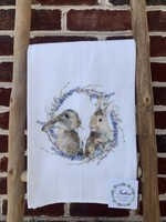 southern sisters Linen Towel Two Bunnies in a Wreath