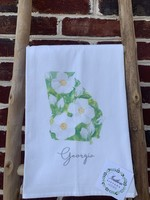southern sisters Linen Towel State of GA Magnolia
