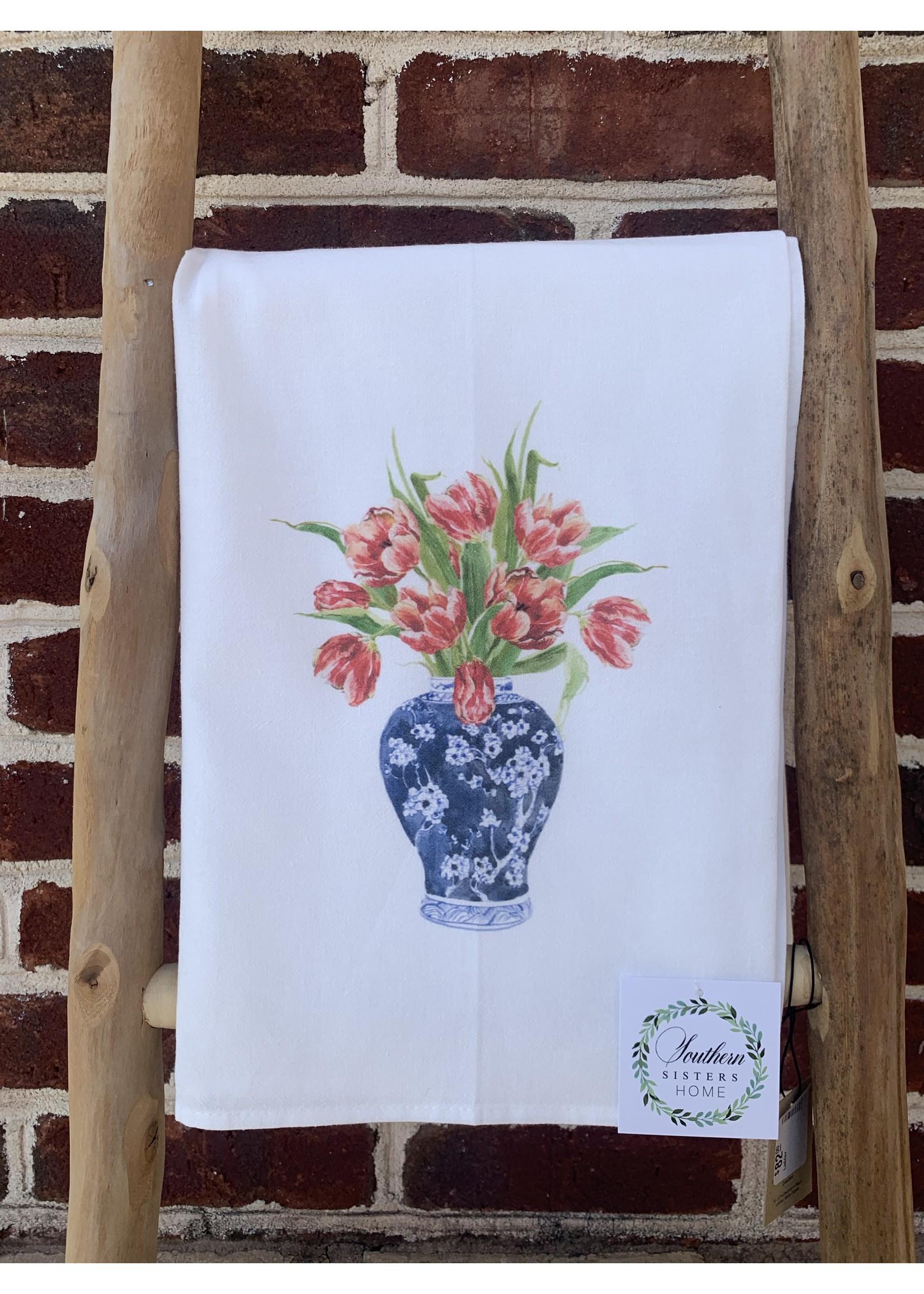 southern sisters Linen Towel Flowers in Vase