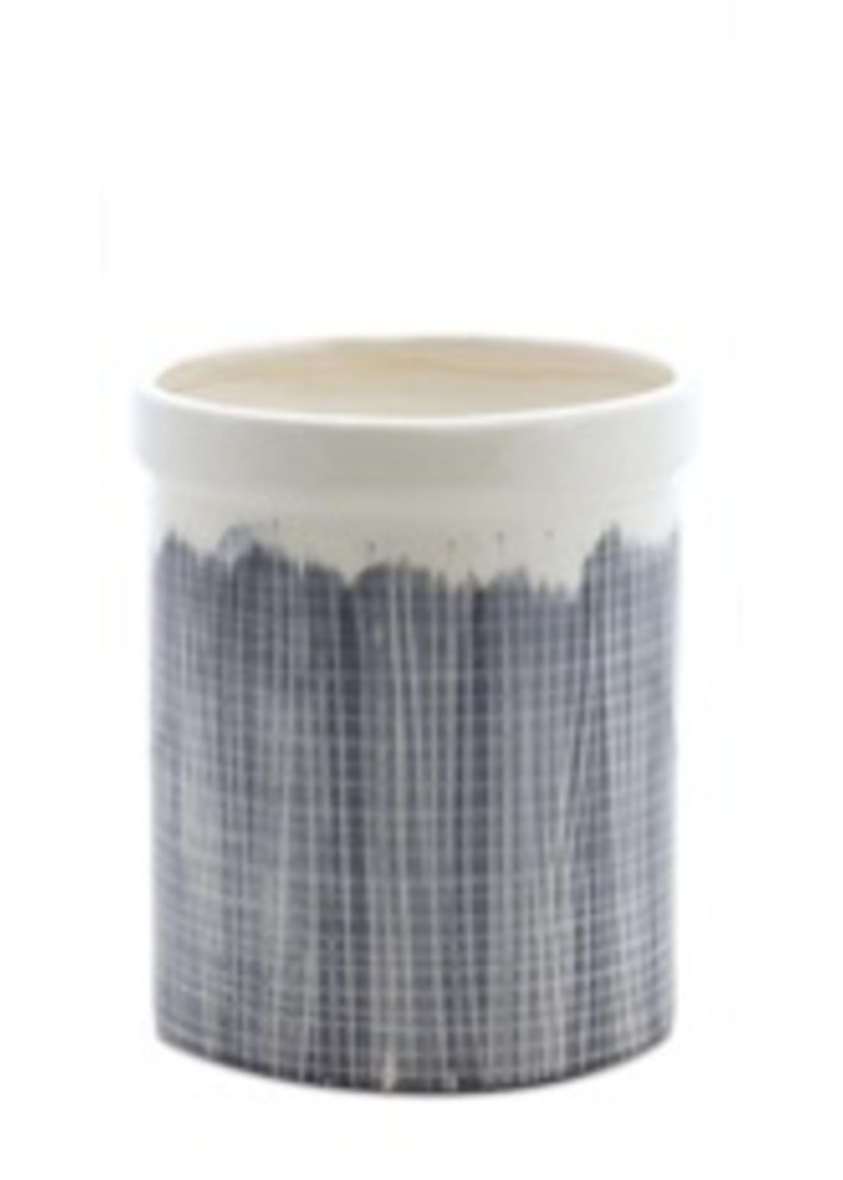 melrose Blue & White Glaze Crock Medium