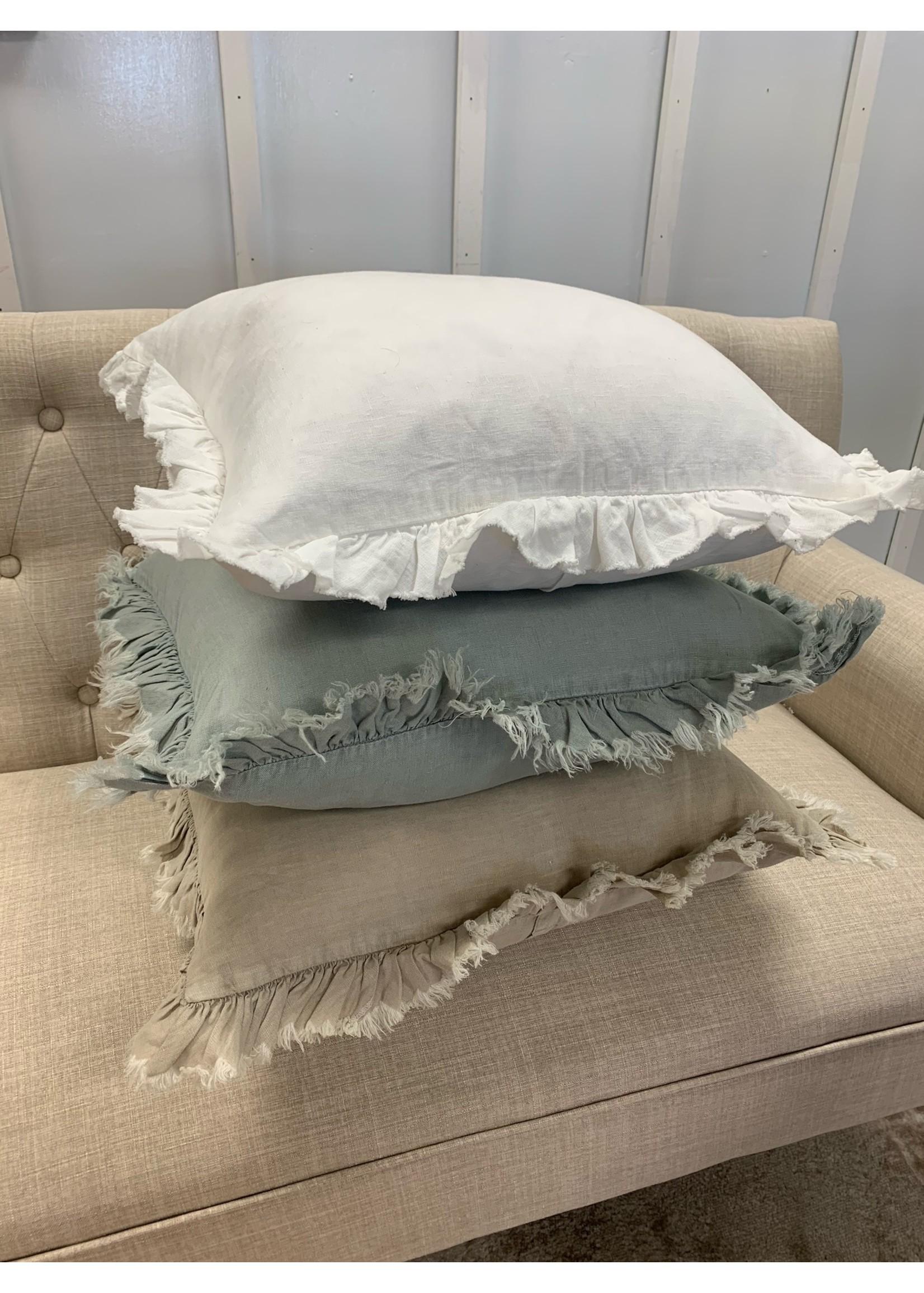 Saro Trading Company Ruffled Design Pillow - Blue